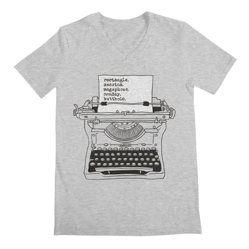Typewriter Men's Regular V-Neck by Urban Prey's Artist Shop