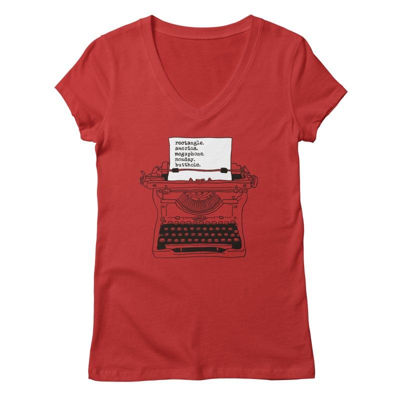 Typewriter Women's V-Neck by Urban Prey's Artist Shop