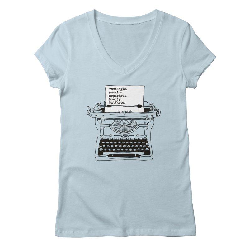 Typewriter Women's Regular V-Neck by Urban Prey's Artist Shop