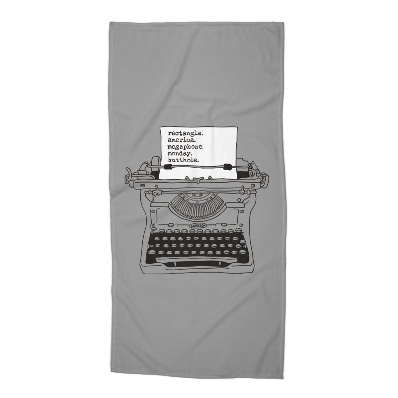 Typewriter Accessories Beach Towel by Urban Prey's Artist Shop
