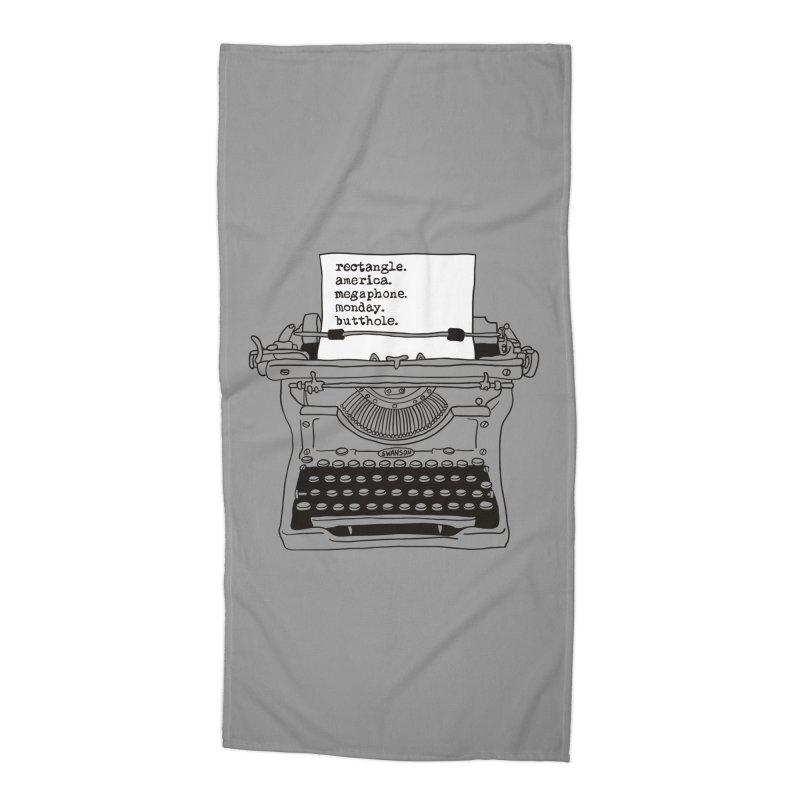 Typewriter Accessories Beach Towel by Urban Prey's Artist Shop