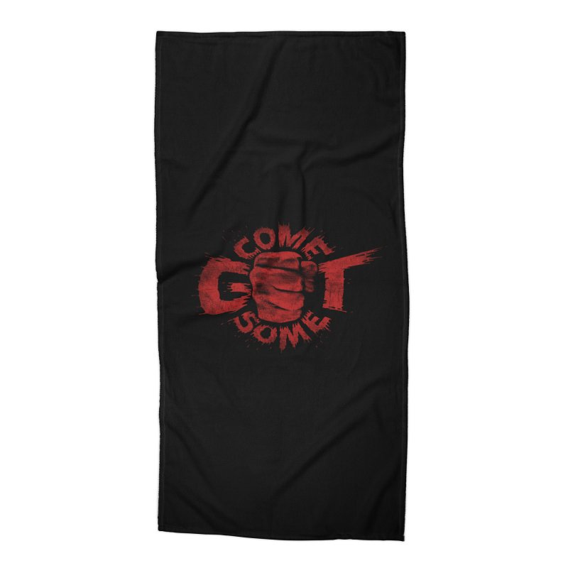 Come get some - red Accessories Beach Towel by Urban Prey's Artist Shop