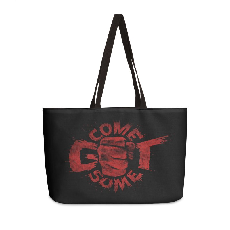Come get some - red Accessories Weekender Bag Bag by Urban Prey's Artist Shop