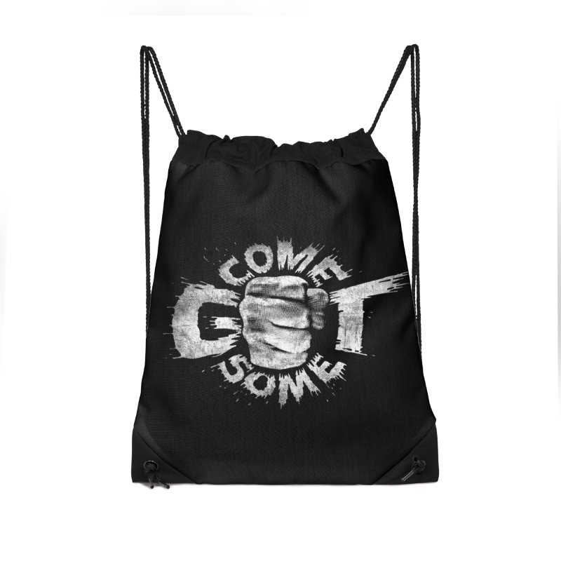 Come get some - white Accessories Drawstring Bag Bag by Urban Prey's Artist Shop