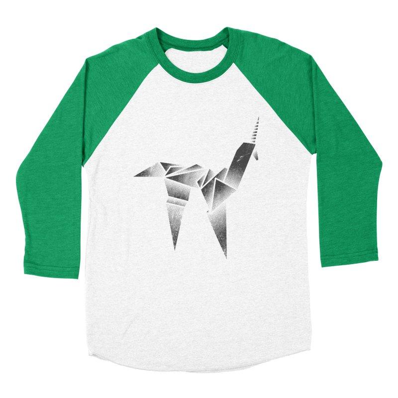 Origami Unicorn Men's Baseball Triblend Longsleeve T-Shirt by Urban Prey's Artist Shop