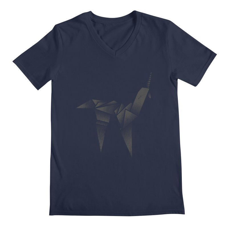 Origami Unicorn Men's V-Neck by Urban Prey's Artist Shop