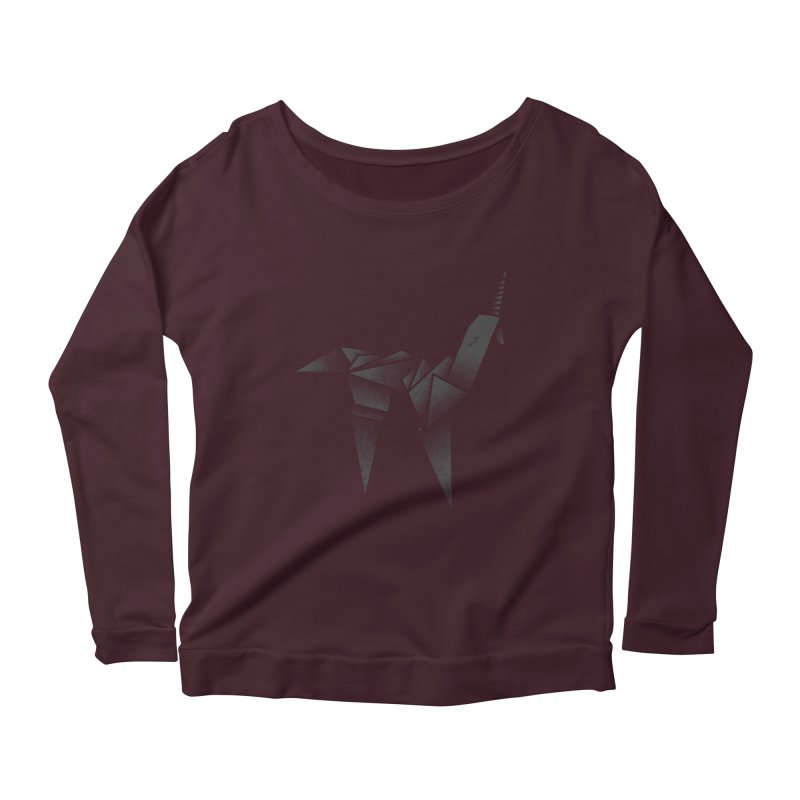 Origami Unicorn Women's Scoop Neck Longsleeve T-Shirt by Urban Prey's Artist Shop