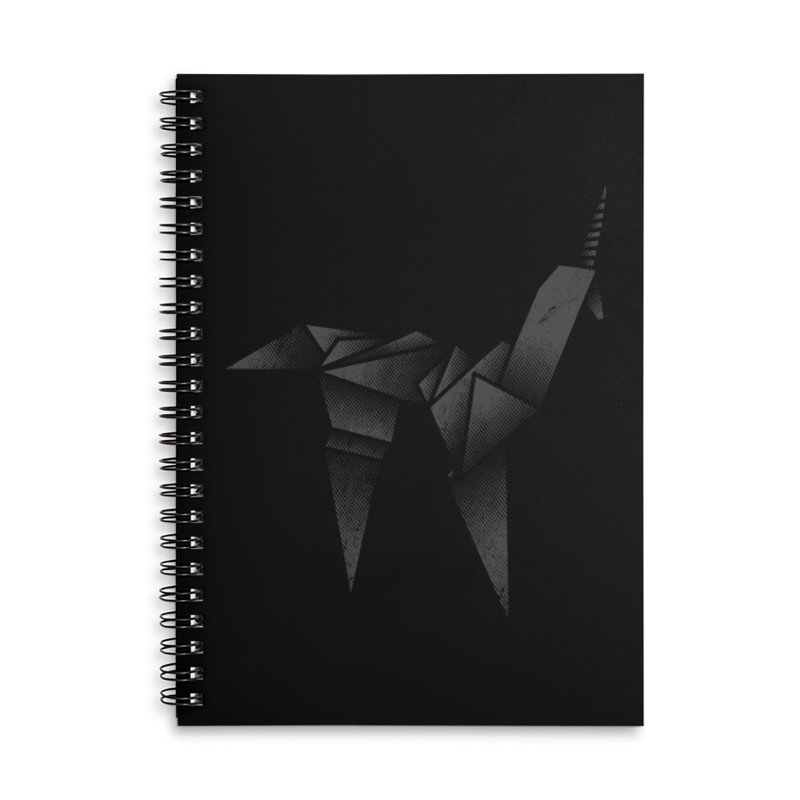 Origami Unicorn Accessories Lined Spiral Notebook by Urban Prey's Artist Shop