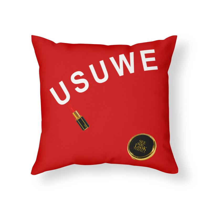 Lip Stick in Throw Pillow by USUWE by Pugs Atomz