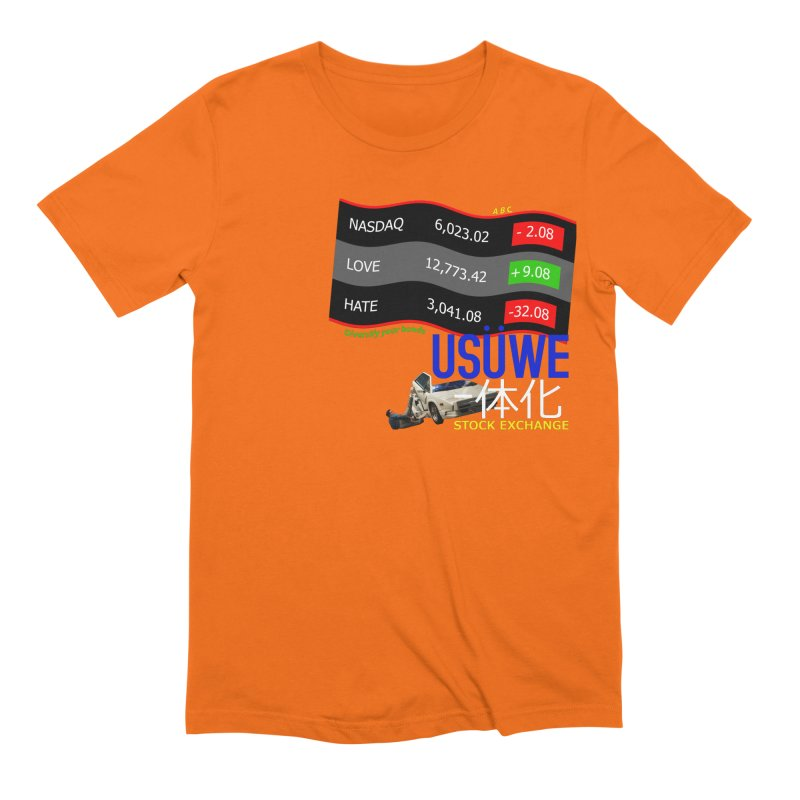 STOCK EXCHANGE in Men's Extra Soft T-Shirt Bright Orange by USUWE by Pugs Atomz