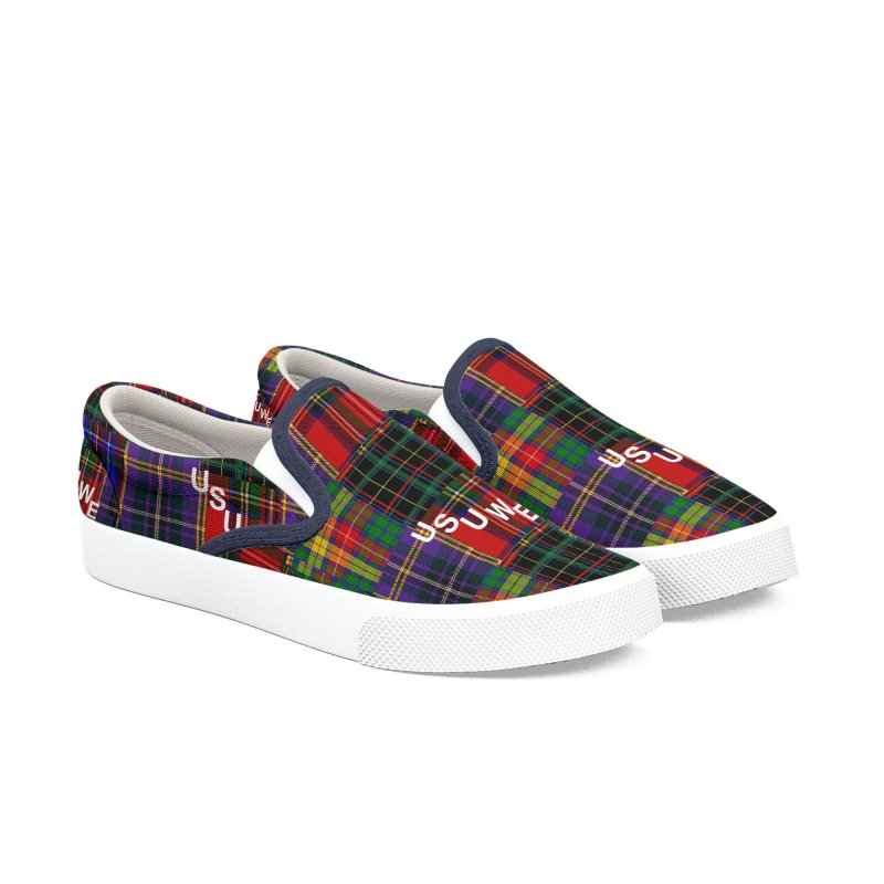 Tartan Patchwork Men's Slip-On Shoes by USUWE by Pugs Atomz