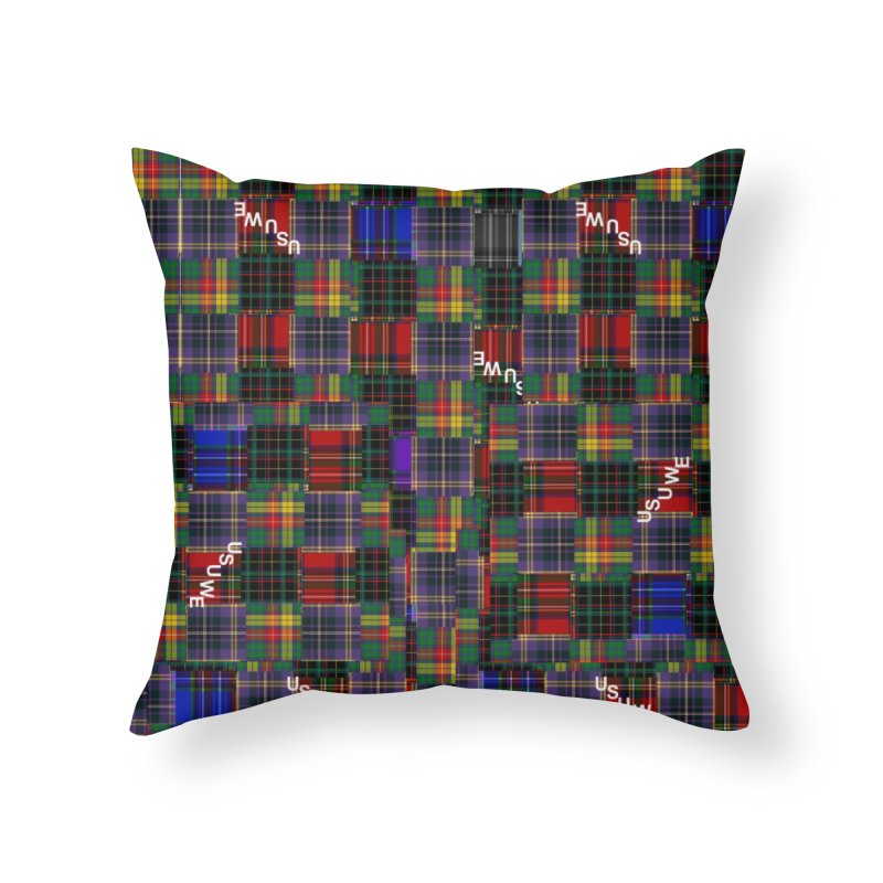 Tartan Patchwork Home Throw Pillow by USUWE by Pugs Atomz