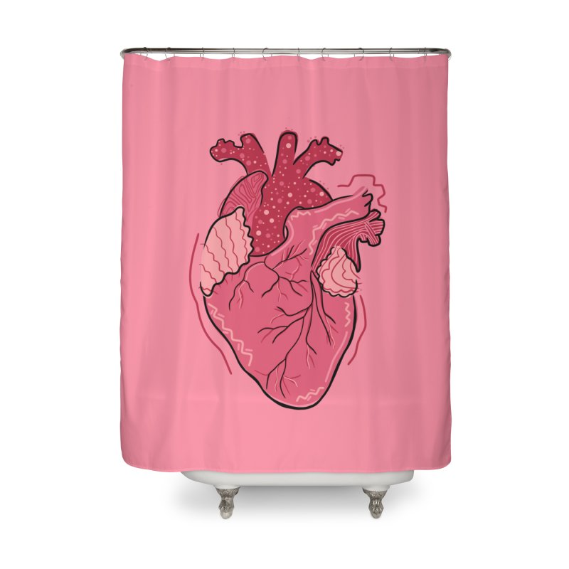Heart Home Shower Curtain by Val's Artist Shop