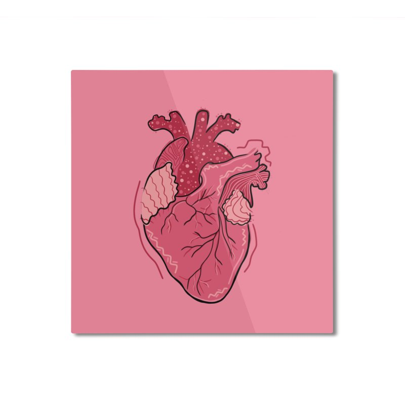Heart Home Mounted Aluminum Print by Val's Artist Shop
