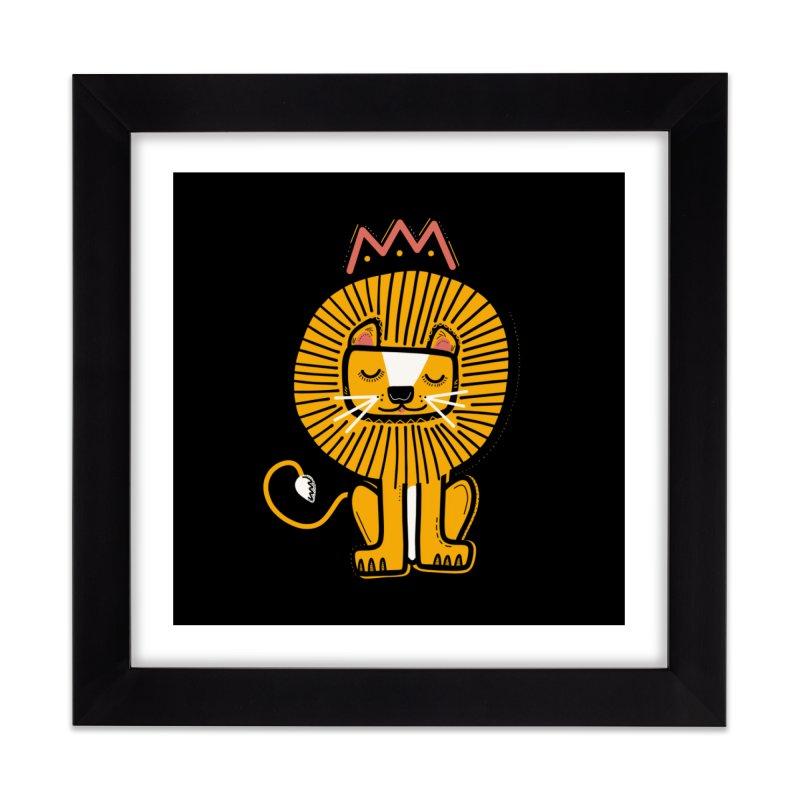 Lion Home Framed Fine Art Print by Val's Artist Shop