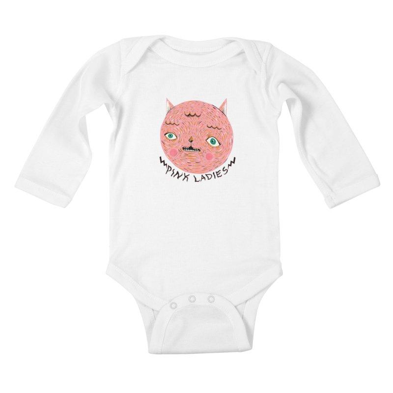 Pink ladies Kids Baby Longsleeve Bodysuit by Valentina Zummo