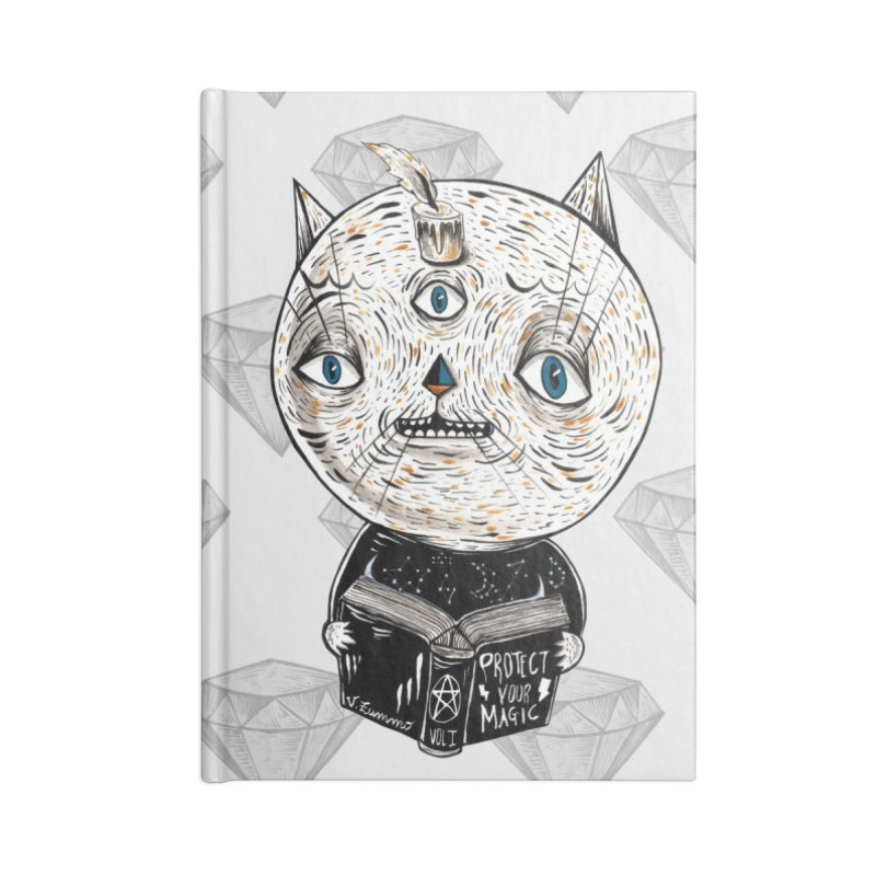 Magician cat Accessories Lined Journal Notebook by Valentina Zummo
