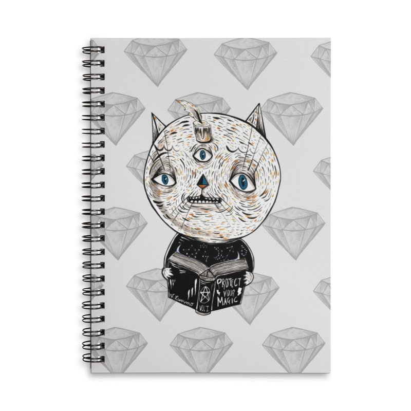 Magician cat Accessories Lined Spiral Notebook by Valentina Zummo
