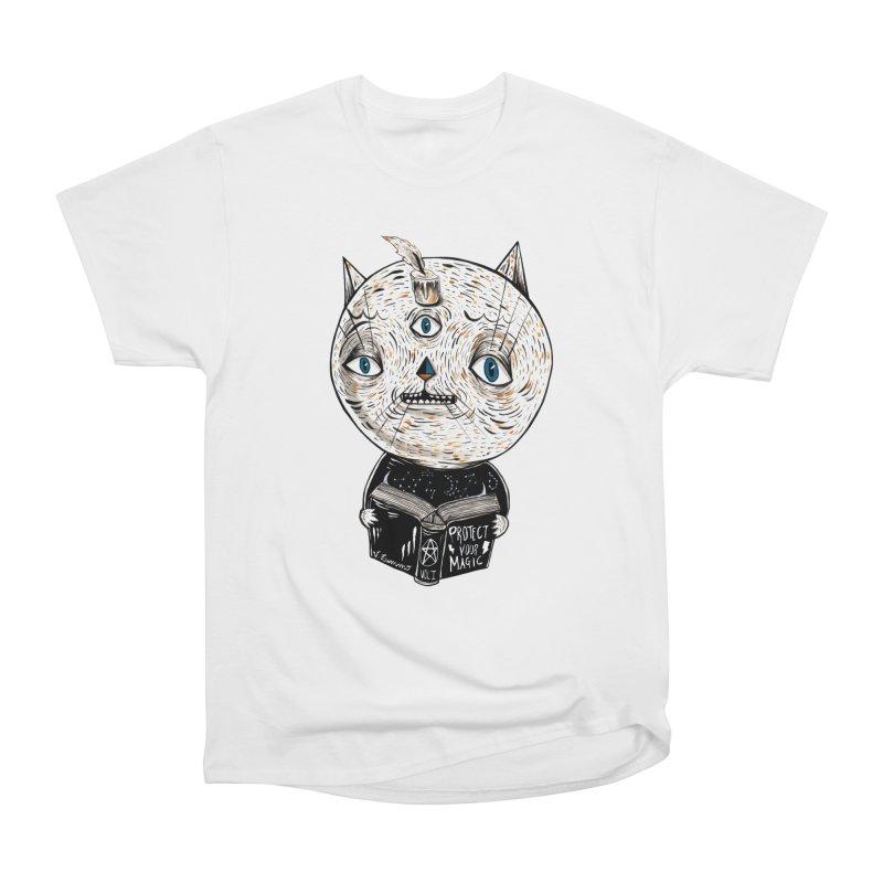 Magician cat Women's Heavyweight Unisex T-Shirt by Valentina Zummo