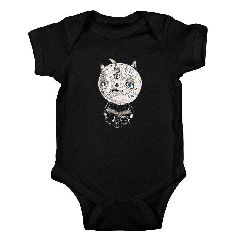 Magician cat Kids Baby Bodysuit by Valentina Zummo