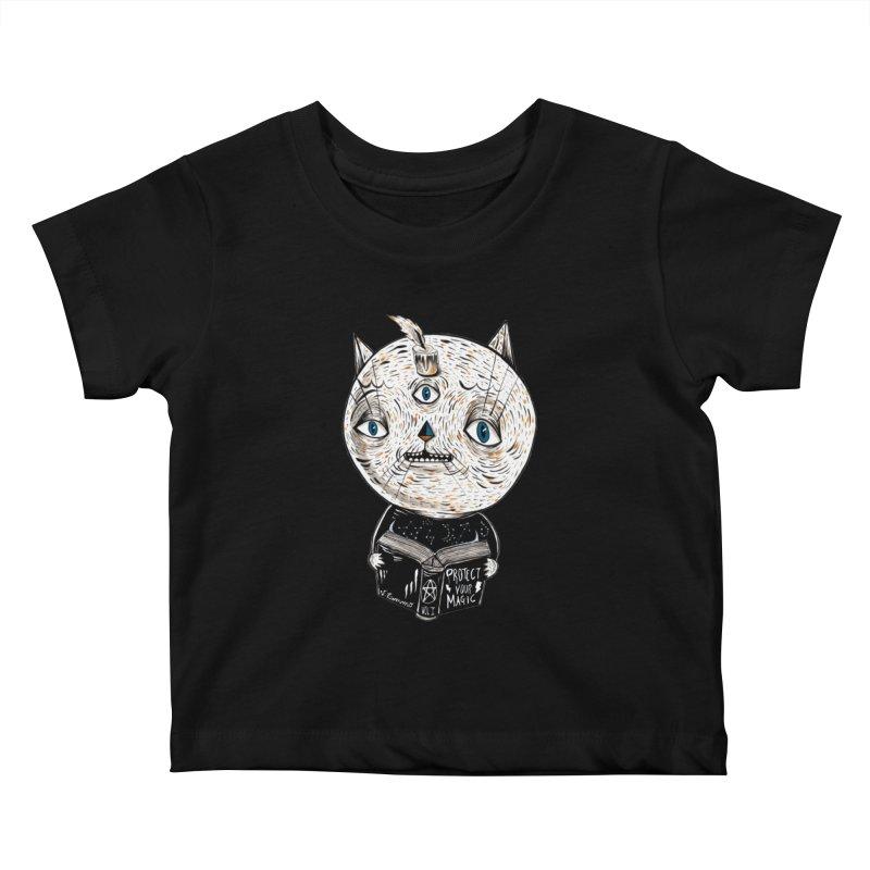 Magician cat Kids Baby T-Shirt by Valentina Zummo