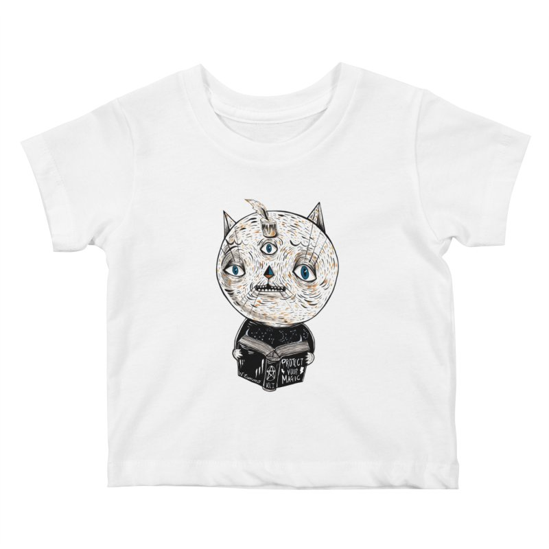 Magician cat Kids Baby T-Shirt by Valentina Zummo