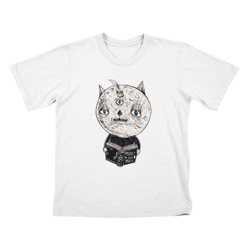 Magician cat Kids T-Shirt by Valentina Zummo