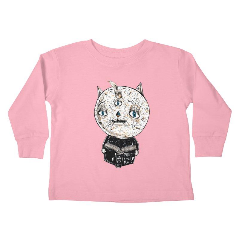Magician cat Kids Toddler Longsleeve T-Shirt by Valentina Zummo