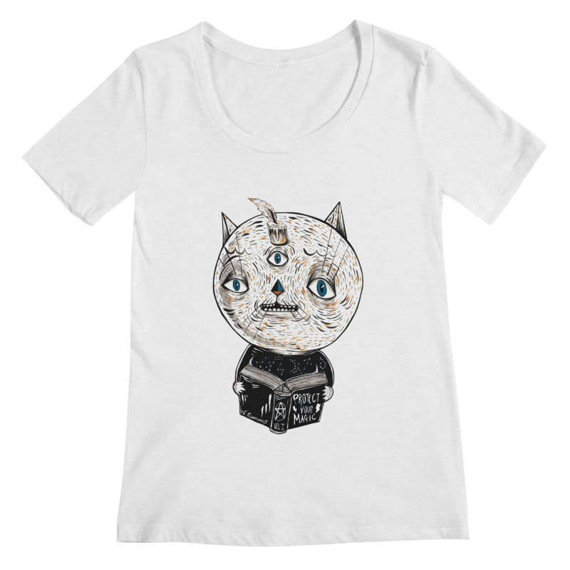 Magician cat Women's Regular Scoop Neck by Valentina Zummo