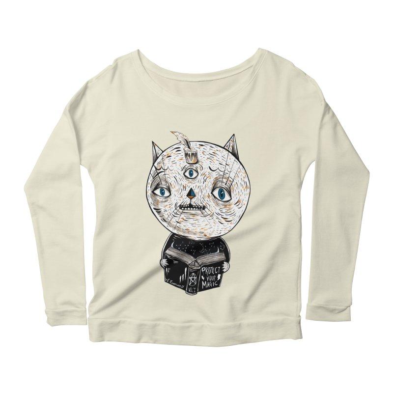 Magician cat Women's Scoop Neck Longsleeve T-Shirt by Valentina Zummo