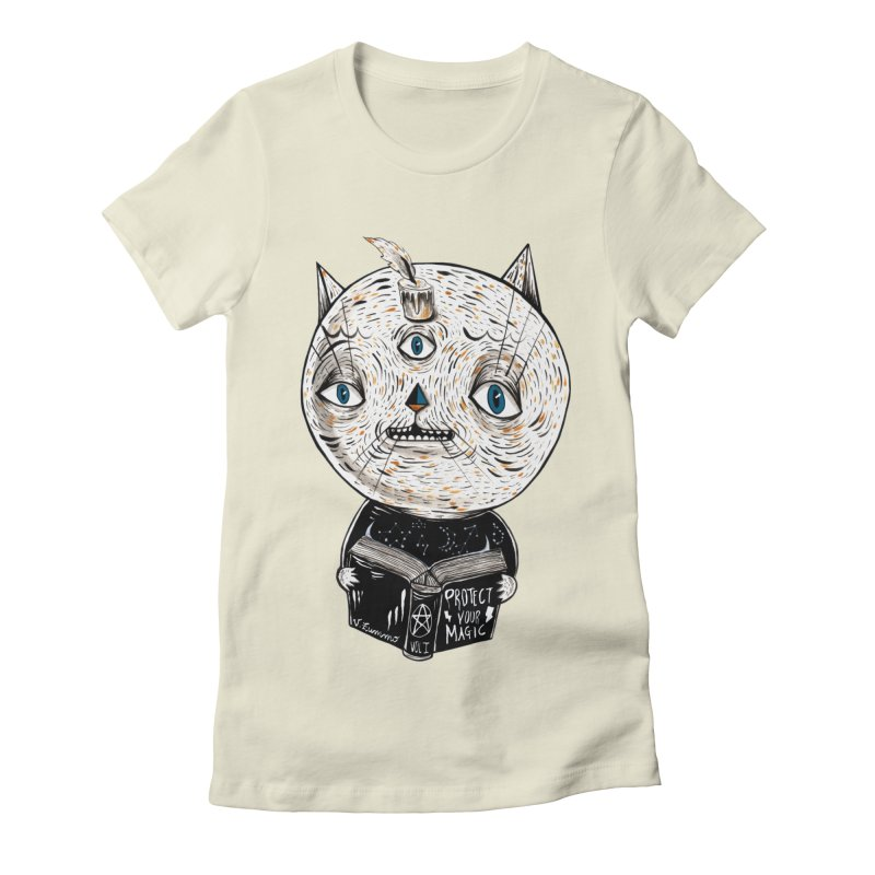 Magician cat Women's Fitted T-Shirt by Valentina Zummo