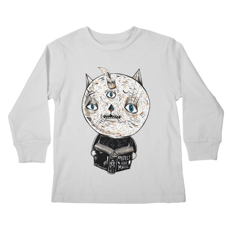 Magician cat Kids Longsleeve T-Shirt by Valentina Zummo