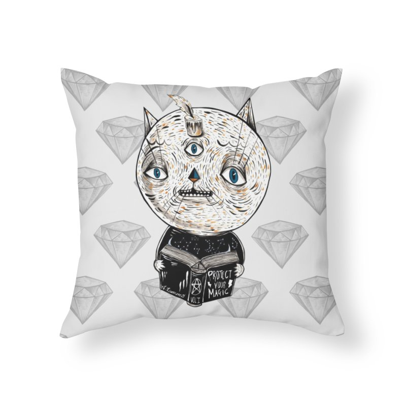 Magician cat Home Throw Pillow by Valentina Zummo