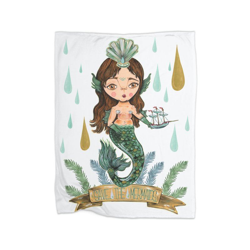 Save the Mermaid Home Fleece Blanket Blanket by Valentina Zummo