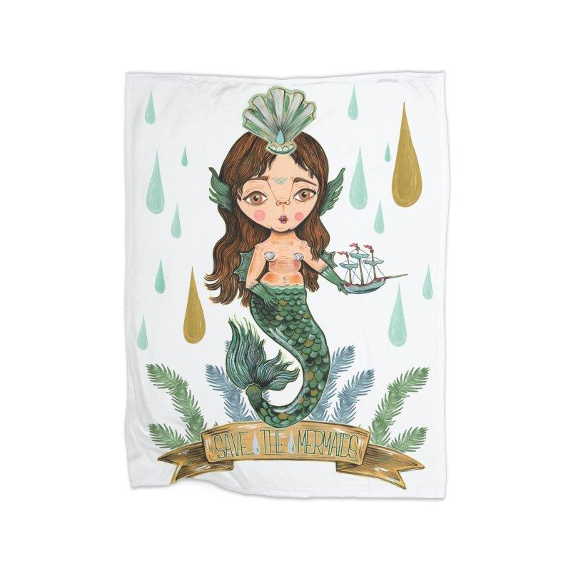 Save the Mermaid Home Fleece Blanket Blanket by Valentina Zummo