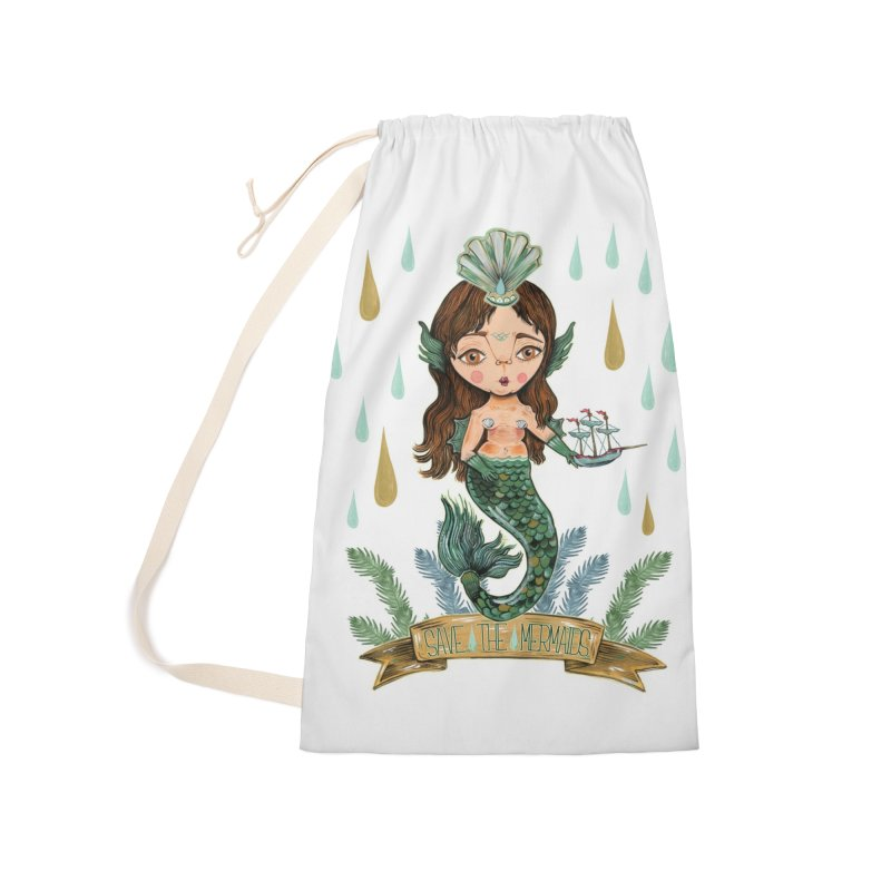Save the Mermaid Accessories Laundry Bag Bag by Valentina Zummo