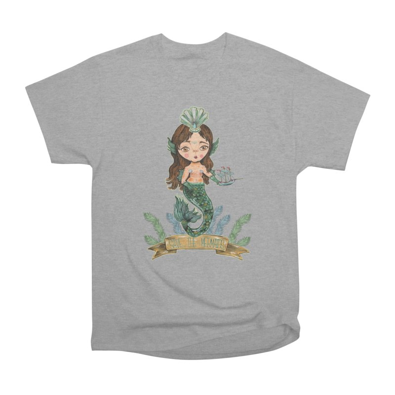 Save the Mermaid Women's Heavyweight Unisex T-Shirt by Valentina Zummo