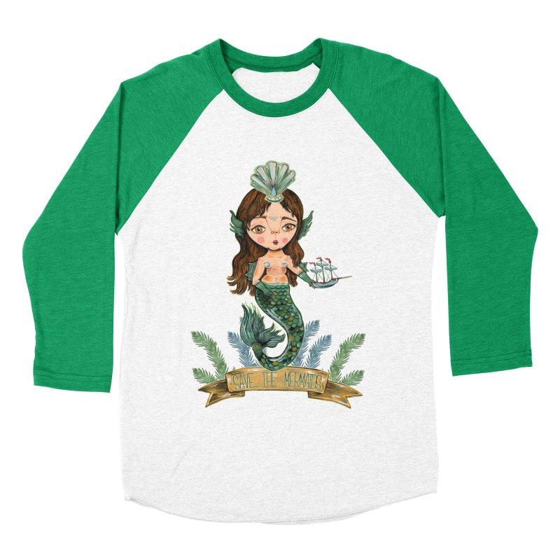 Save the Mermaid Men's Baseball Triblend Longsleeve T-Shirt by Valentina Zummo