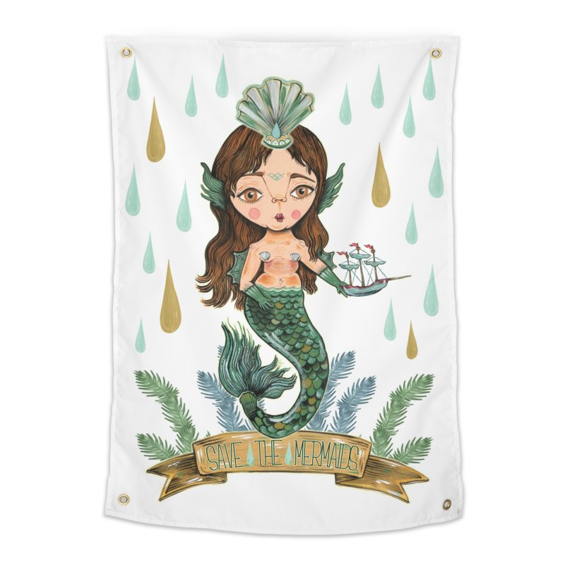 Save the Mermaid Home Tapestry by Valentina Zummo