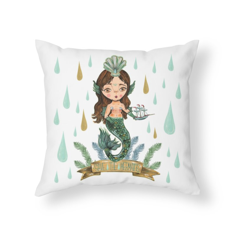 Save the Mermaid Home Throw Pillow by Valentina Zummo