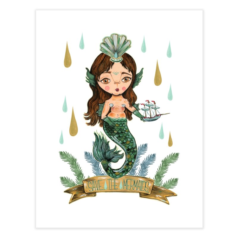 Save the Mermaid Home Fine Art Print by Valentina Zummo