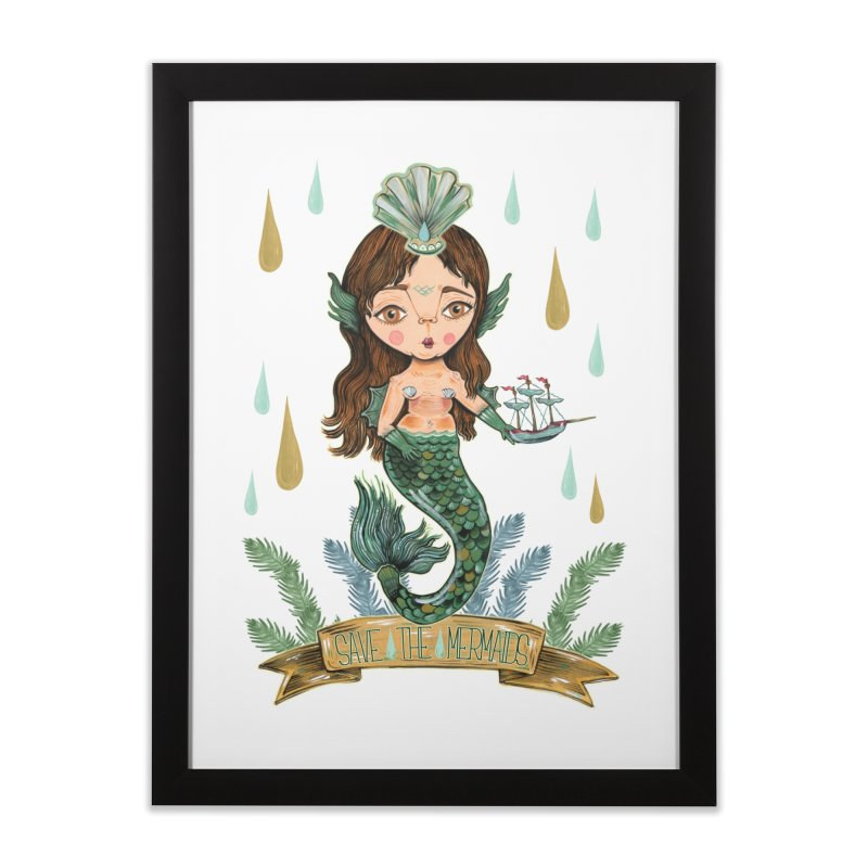 Save the Mermaid Home Framed Fine Art Print by Valentina Zummo
