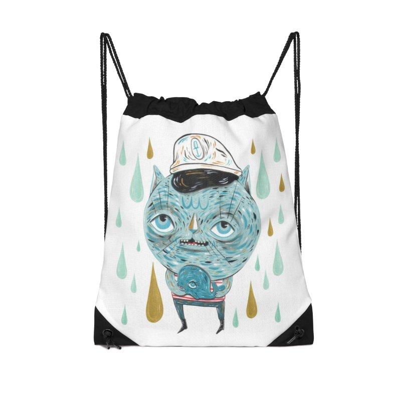Sea CAt Accessories Drawstring Bag Bag by Valentina Zummo