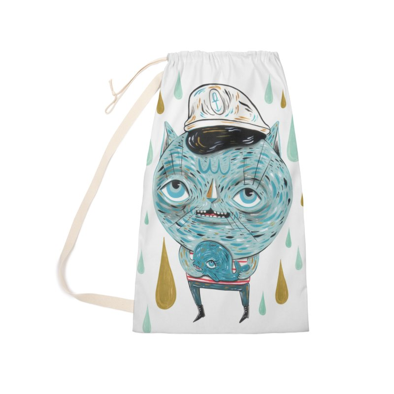 Sea CAt Accessories Laundry Bag Bag by Valentina Zummo