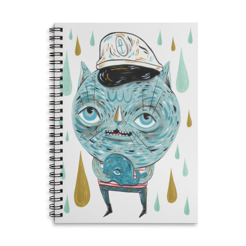 Sea CAt Accessories Lined Spiral Notebook by Valentina Zummo