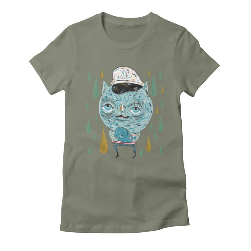 Sea CAt Women's Fitted T-Shirt by Valentina Zummo