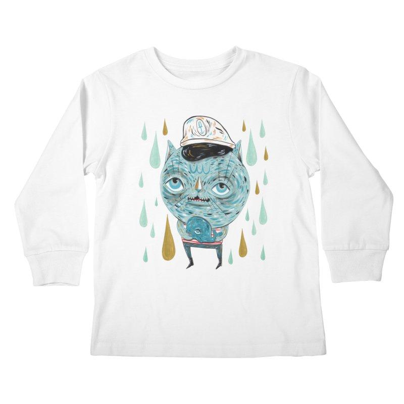 Sea CAt Kids Longsleeve T-Shirt by Valentina Zummo