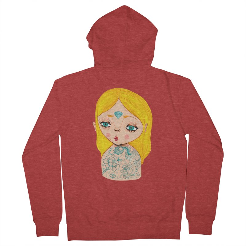 Tattooed girl Women's French Terry Zip-Up Hoody by Valentina Zummo