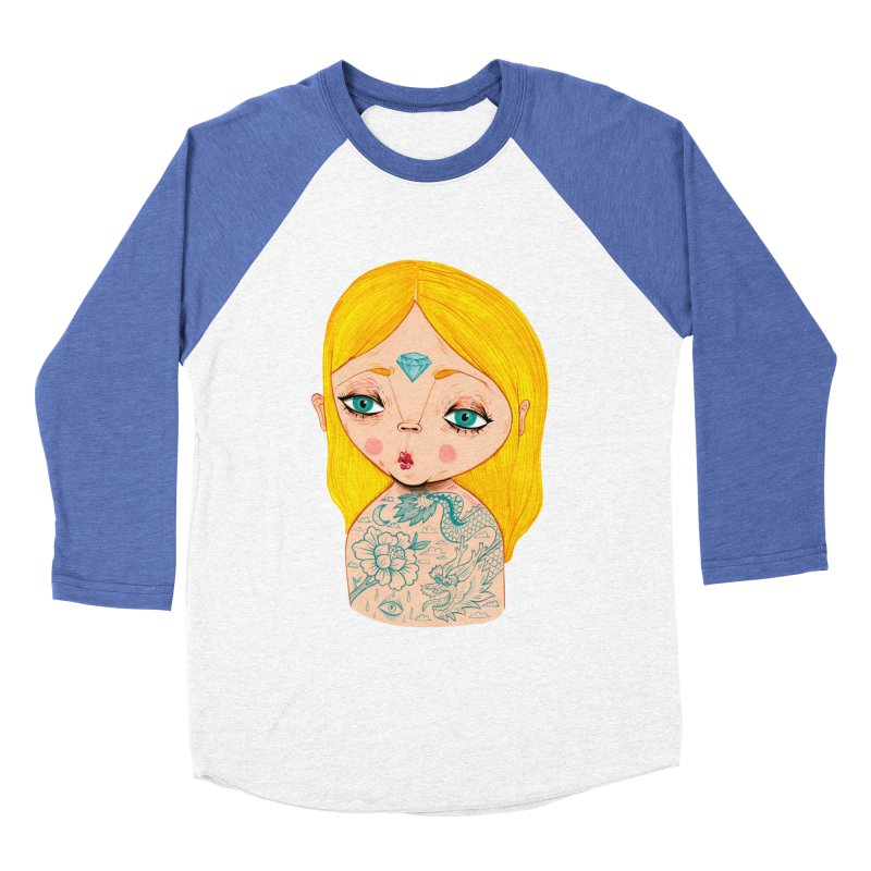 Tattooed girl Women's Baseball Triblend Longsleeve T-Shirt by Valentina Zummo