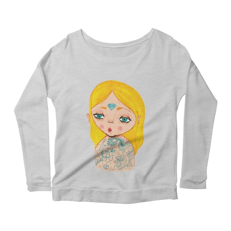 Tattooed girl Women's Scoop Neck Longsleeve T-Shirt by Valentina Zummo